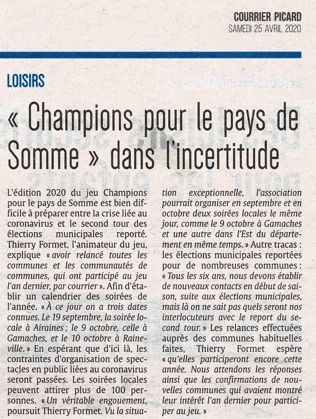 Article du Courrier Picard - Avril 2020
