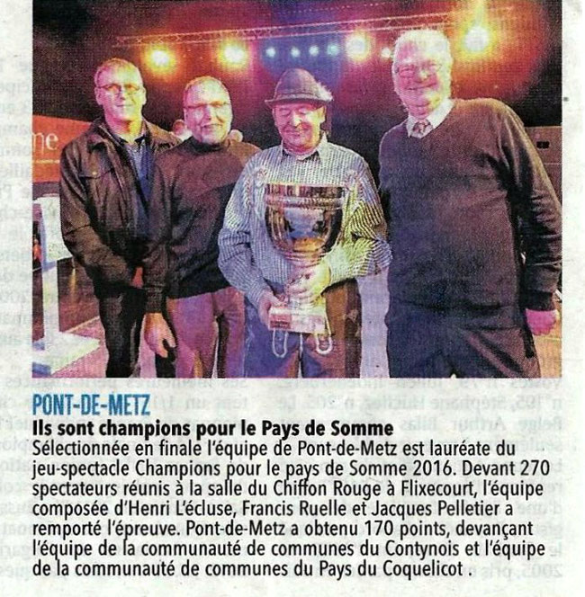 Finale de Flixecourt - Article du Courrier Picard - Décembre 2016