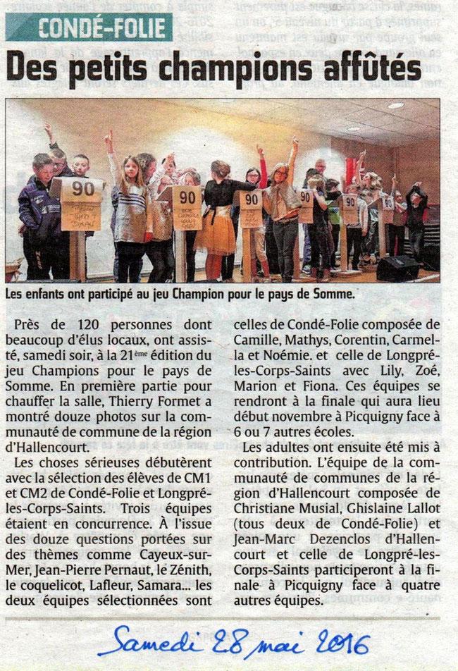 Soirée de Condé-Folie - Article du Courrier Picard - Mai 2016