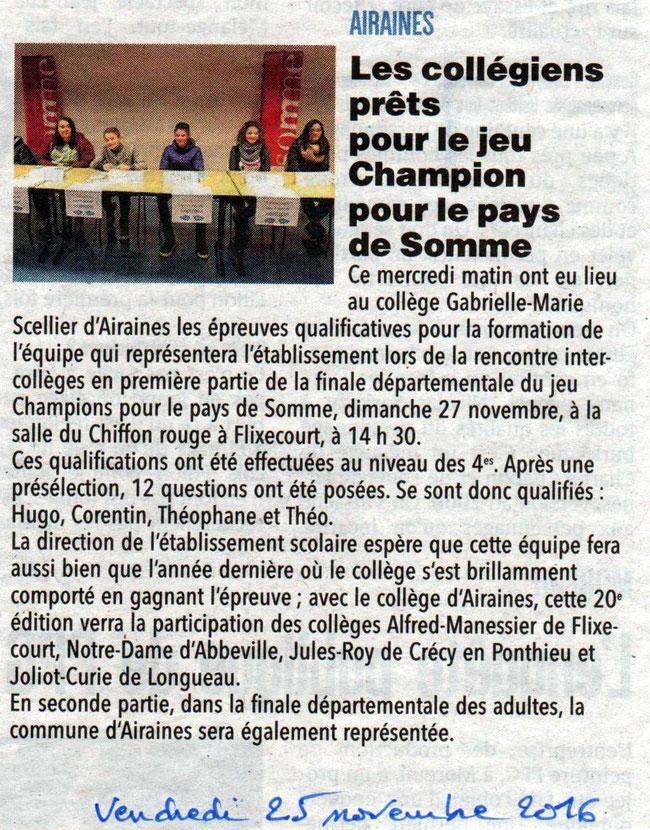 Collège Airaines - Article du Courrier Picard - Novembre 2016
