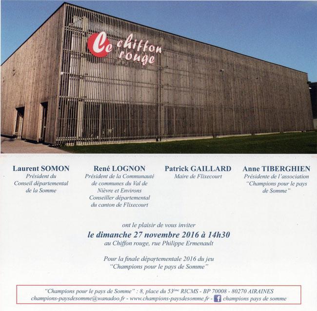 Le carton d'invitation à cette finale départementale 2016 à Flixecourt au Chiffon rouge