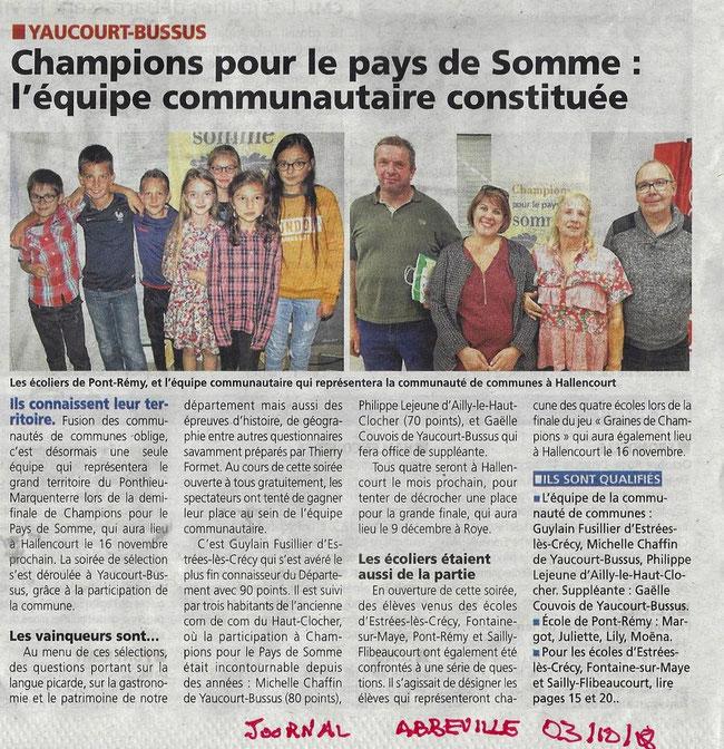 Soirée de Yaucourt-Bussus - Article du Courrier Picard - Octobre 2018