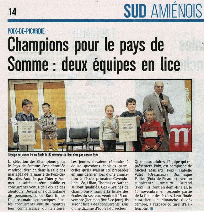 Soirée de Poix de Picardie - Article du Courrier Picard - 13 septembre 2019