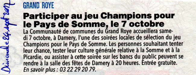 Soirée de Damery (CC du Grand Roye) - Article du Courrier Picard - Septembre 2017