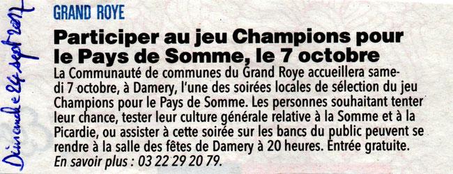 Soirée de Damery (CC du Grand Roye) - Article du Courrier Picard - Septembre 2017