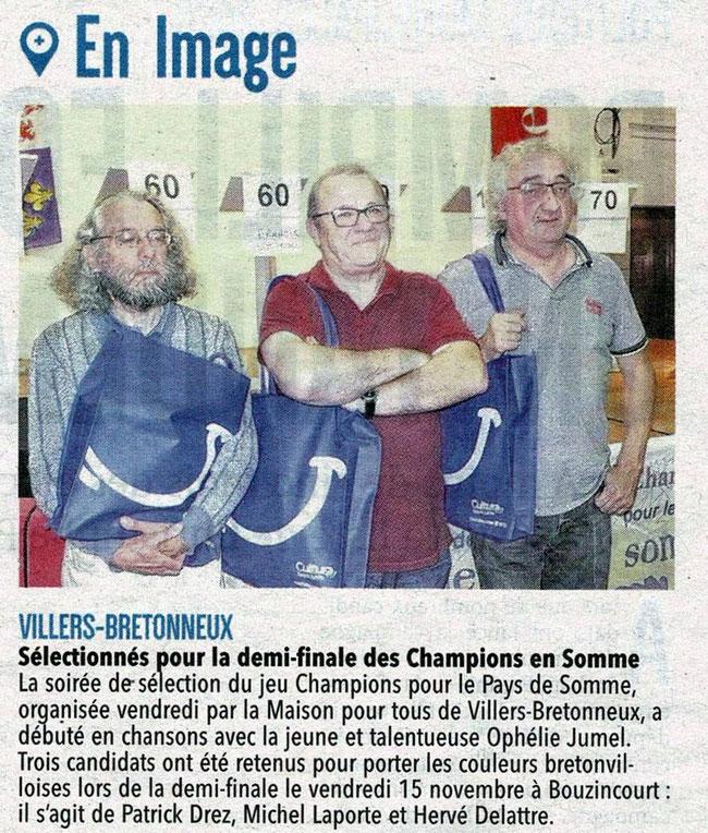 Soirée de Villers Bretonneux - Article du Courrier Picard - 29 octobre 2019