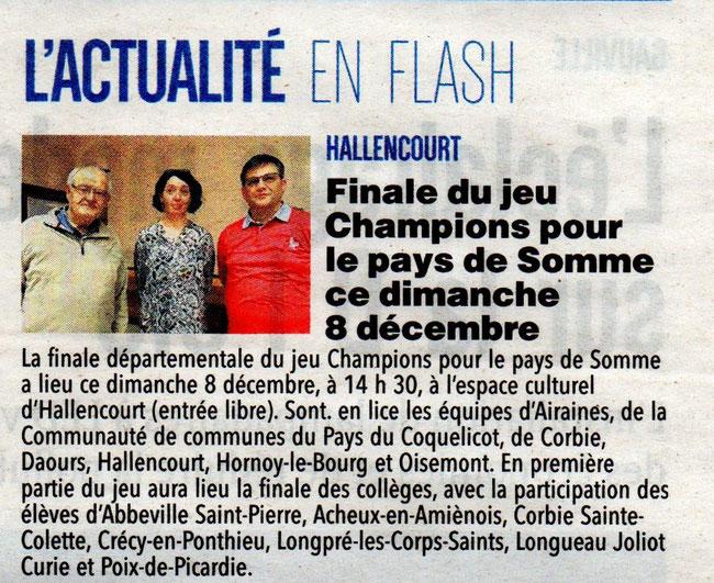 Finale d'Hallencourt - Article du Courrier Picard - 7 décembre 2019