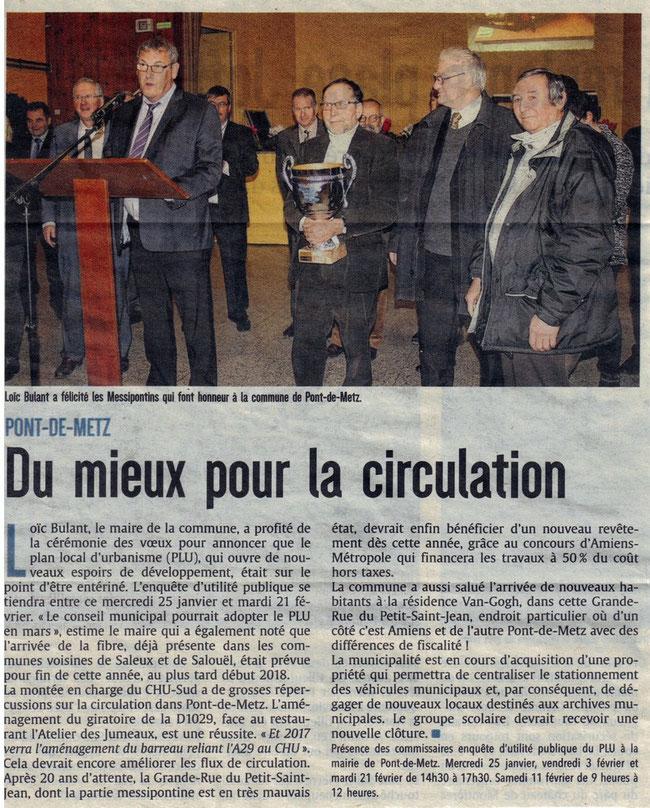 Voeux - Article du Courrier Picard - Janvier 2017