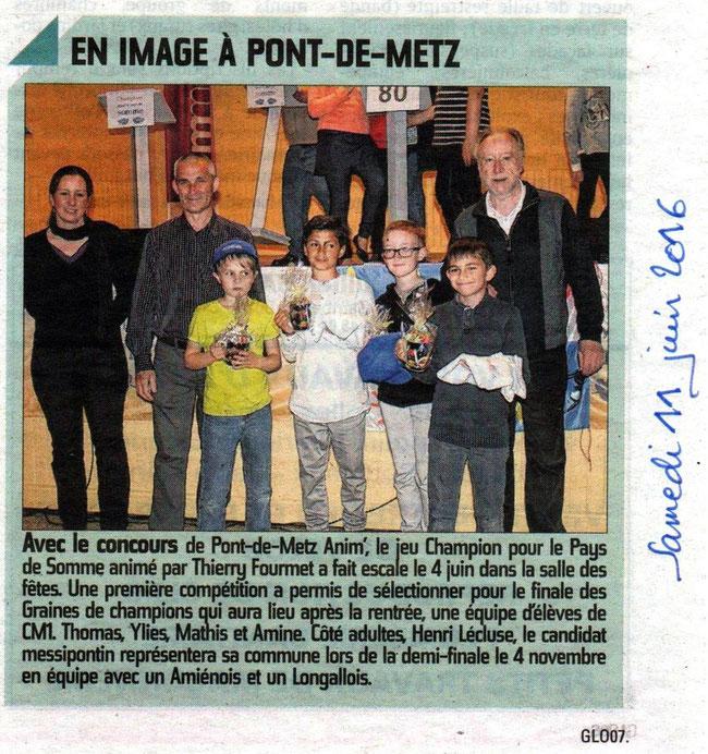 Soirée de Pont-de-Metz - Article du Courrier Picard - Juin 2016