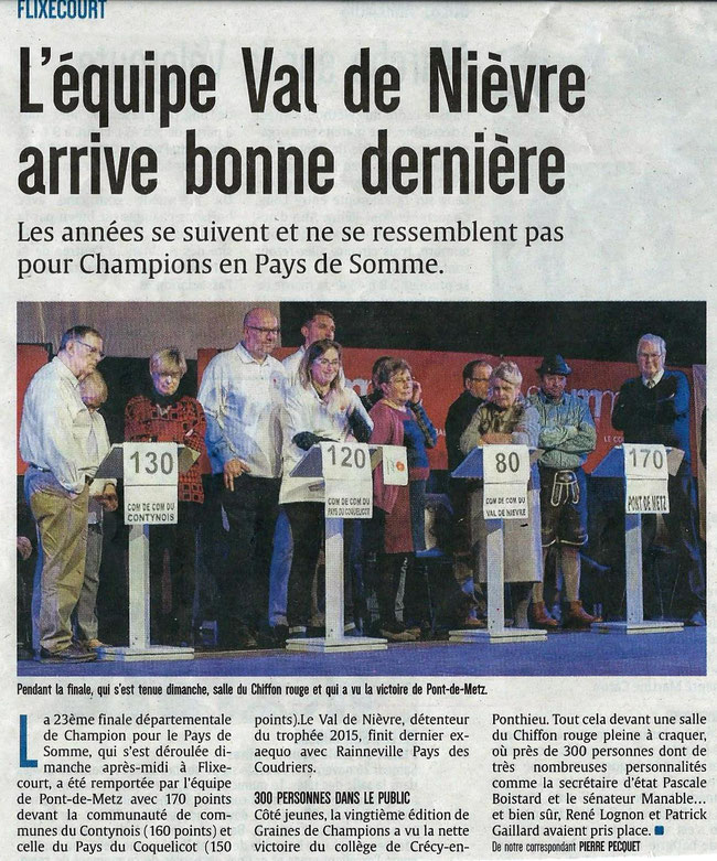 Finale de Flixecourt - Article du Courrier Picard - Novembre 2016