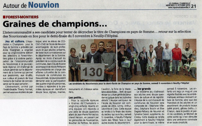 Soirée de Forest-Montiers - Article du Journal d'Abbeville - Octobre 2016