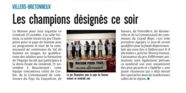 Soirée de Villers-Bretonneux - Article du Courrier Picard - Octobre 2019