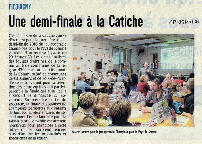 Demi-finale Picquigny - Article du Courrier Picard - Novembre 2016