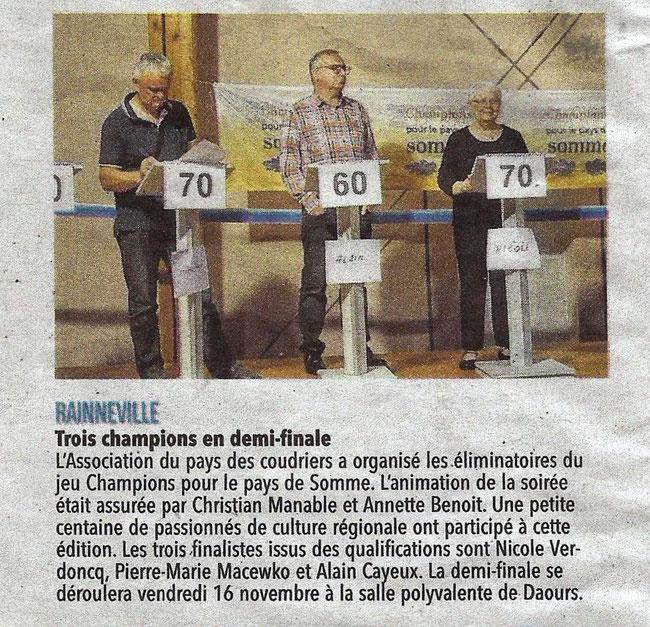 Soirée de Rainneville - Article du Courrier Picard - Octobre 2018