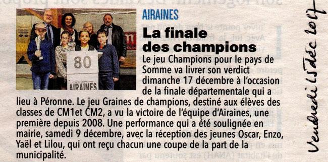 Finale Graines de Champions - Article du Courrier Picard - Décembre 2017