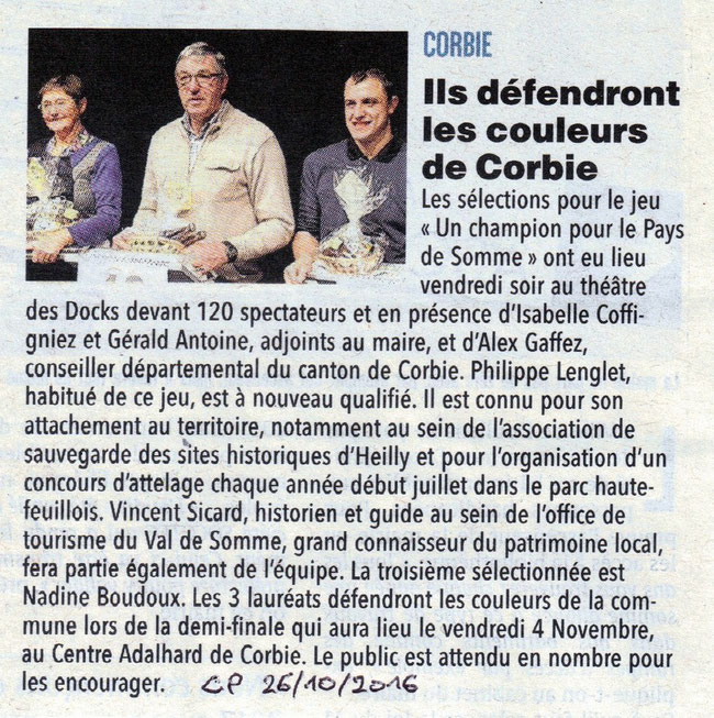 Soirée de Corbie compte-rendu - Article du Courrier Picard - Octobre 2016