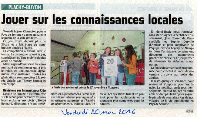 Soirée de Plachy-Buyon compte rendu - Article du Courrier Picard - Mai 2016