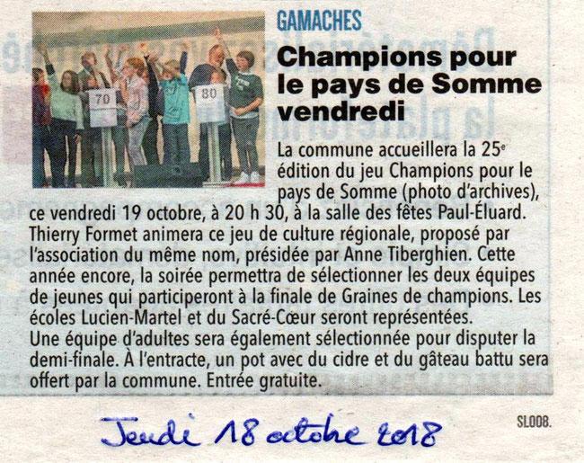 Soirée de Gamaches - Article du Courrier Picard - Octobre 2018