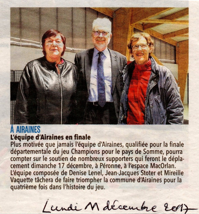 Finale de Péronne - Article du Courrier Picard - Décembre 2017