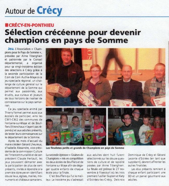 Soirée de Crécy-en-Ponthieu - Article du Journal d'Abbeville - Mai 2016