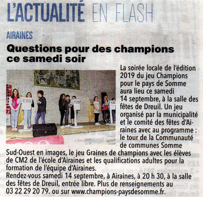 Soirée d'Airaines - Article du Courrier Picard - 11 septembre 2019