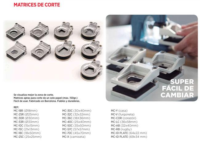 TAMAÑO M: MC-10C 15 x 15 mm. MC-15C  21 x 13 mm. MC-18R Ø 18 mm. MC-25R  Ø 25 mm. MC-25C 25 x 25 mm MC-30R Ø 30 mm. MC-30C  30 x 40 mm MC-32C  32 x 32 mm MC-33R  Ø 33 mm. MC-36C  36 x 18 mm. MC-40C  25 x 40 mm MC-V FURGONETA MC-X CAMISETA MC-Y CASA