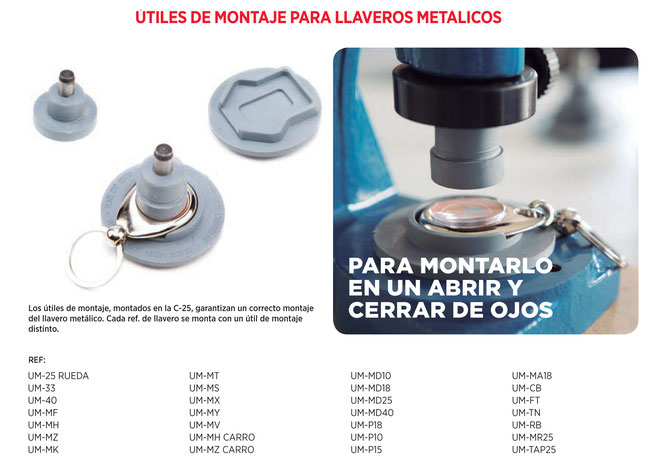 Precio 15€/ud + envío e IVA (Haz tu pedido en info@consumiblesrooi.com). Para usar en máquina C-25, permiten un correcto montaje del llavero. Cada llavero requiere un molde distinto(señálalo junto a tu pedido)