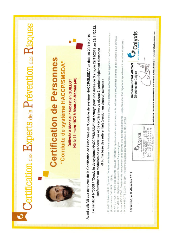S bastien guillot formateur consultant ssa for Diplome restauration collective