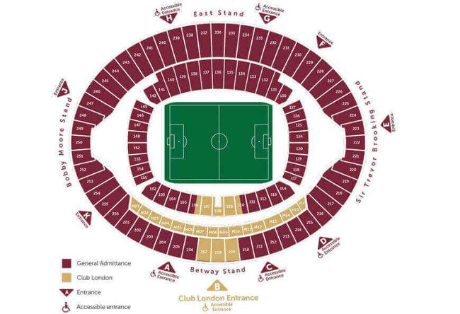 Stadionplan London Stadium, Olympiastadion London, West Ham United. Quelle: West Ham United