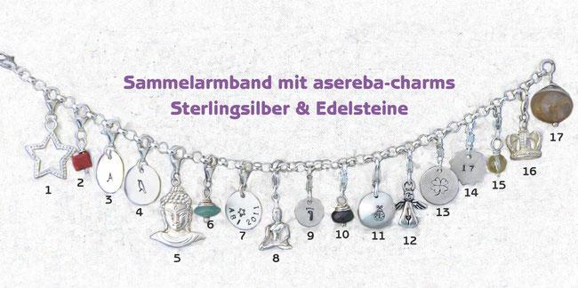 Sammelarmband asereba-charms Sterlingsilber mit Edelsteinen