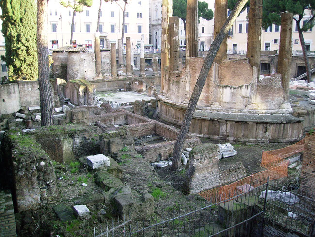The ruins of Pompey's Theatre in Rome, where Julius Caesar was assassinated.