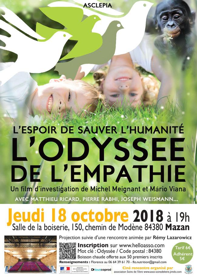 Odyssée de l'Empathie - asso Soins de l'Etre - MAZAN - salle de la Boiserie - Jeudi 18 octobre