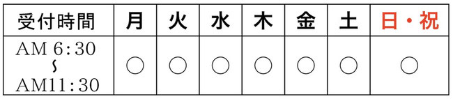 愛知県春日井市みやこ内科クリニックの診療時間。受付時間朝6時30分、終了時間11時30分。日曜祝日もやっています。