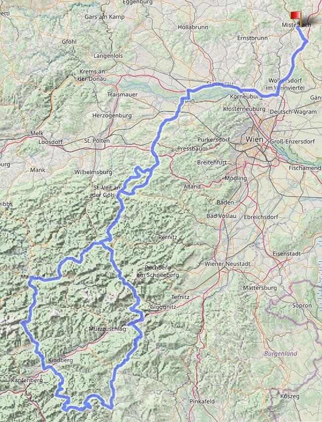 Gesamtstrecke 544km