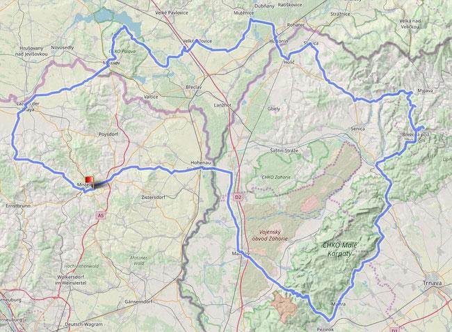 Gesamtstrecke 327km