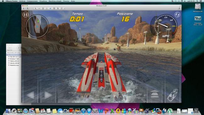 Hydro Thunder, una delle app in esclusiva del Windows store, perfettamente virtualizzata in OSX