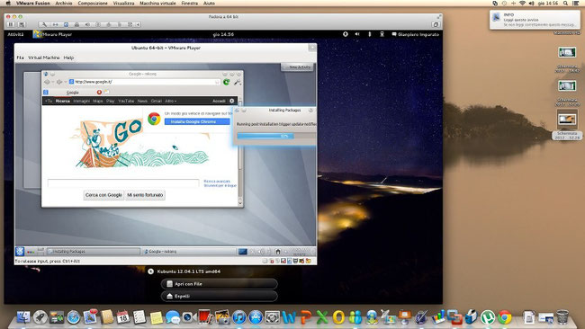 Il mio vanto : virtualizzazione a Matrioska.. OSX che virtualizza un linux, Fedora, che virtualizza un altro linux, Kubuntu