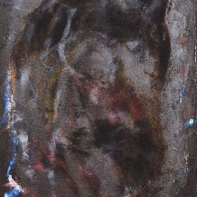 """The horse"", 2001 , oil, sand, acrylic on canvas, 80 cm × 60 cm, copyright Christina Mitterhuber"