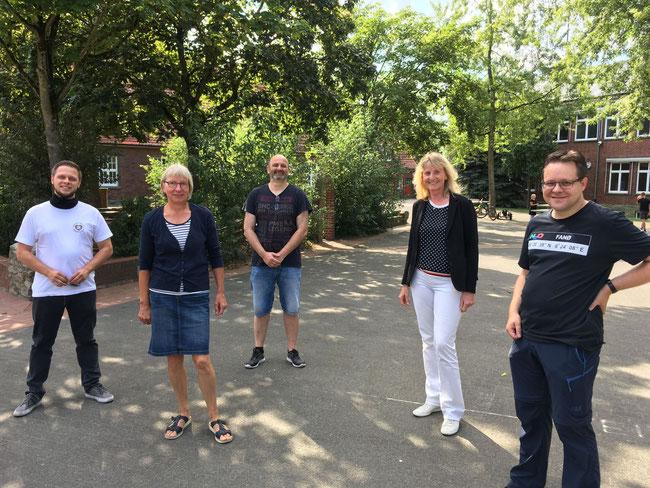 Austausch mit Aktiven des CS Germania Stromberg (v.l.): Julian Wappelhorst, Mathilde Falkenhagen, Michael Sieding, Barbara Köß und Thorsten Mönning