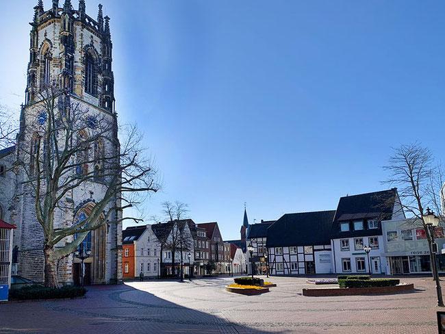 Marktplatz Oelde im März 2020