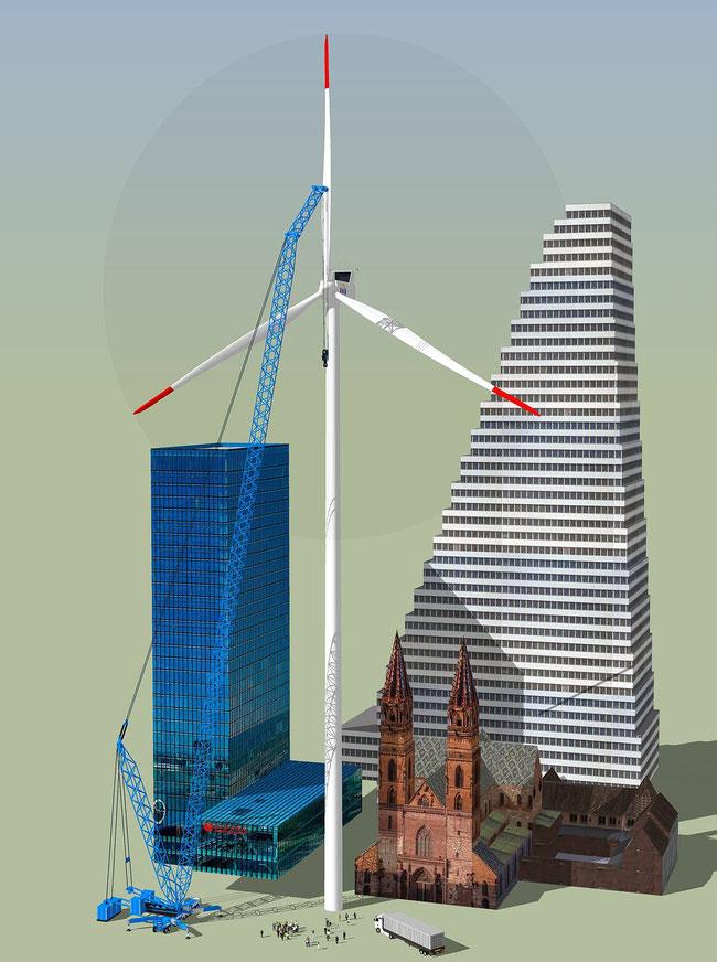 mit dem Roche-Turm, Messeturm und dem Basler Münster - Gigantismus pur!