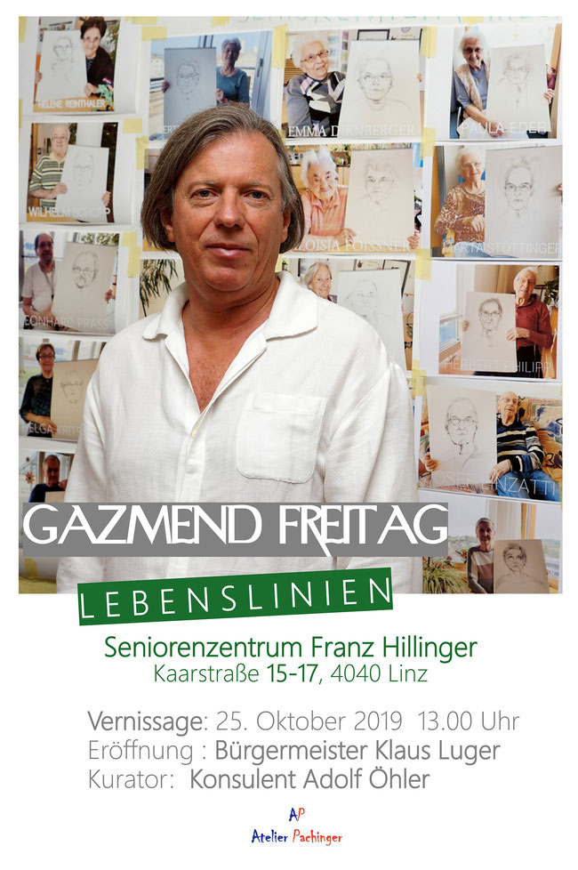 Gazmend Freitag: Plakate zur Ausstellung LEBENSLINIEN, 25. Oktober 2019