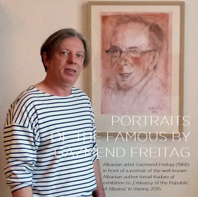 "Albanian artist Gazmend Freitag (1968) in front of a portrait of the well-known Albanian author Ismail Kadare at exhibition to ""Embassy of the Republic of Albania"" in Vienna, 2015."