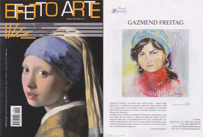 """EFFETTO ARTE, Kunstzeitschrift in Italien, Nummer März/Aprill 2014, die Runrik """"Grandi Maestri"""""""