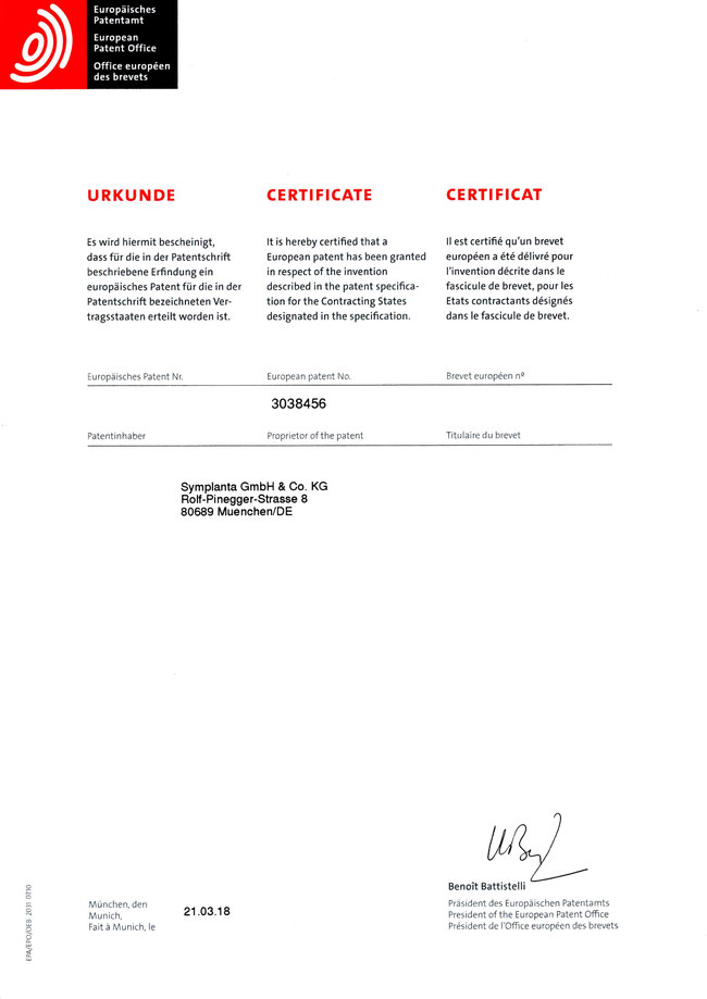 Erteilung des Patentes 31. März 2018 - angegeben ist die Firmen-Adresse zum Zeitpunkt der Beantragung
