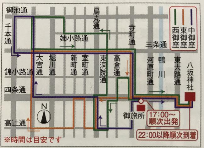 7月24日祇園祭・還幸祭ルートマップ