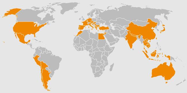 行ったことある国をオレンジ色で塗ったマップ