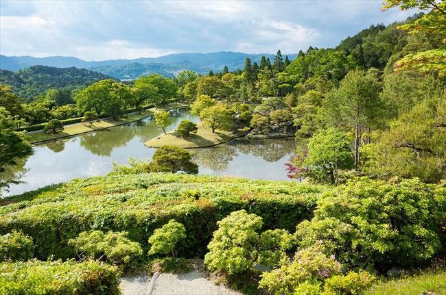 修学院離宮 隣雲亭からの眺め 浴龍池