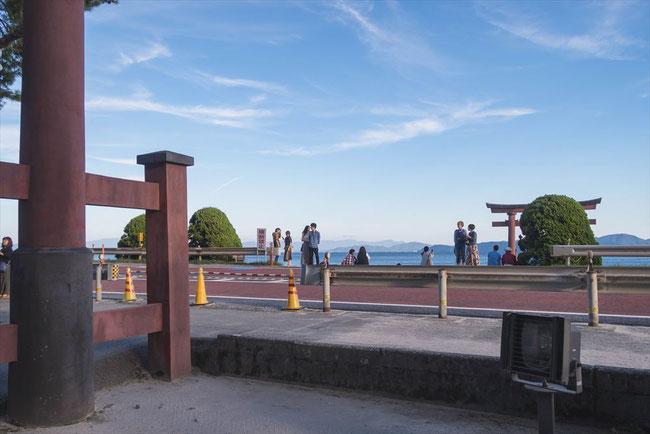 滋賀県琵琶湖「白髭神社」の前面道路