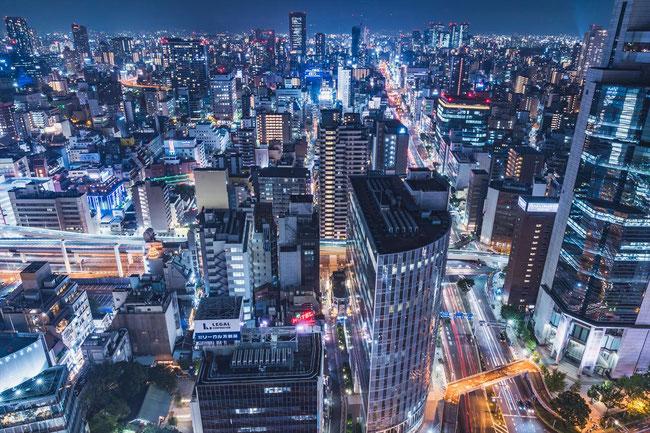 大阪駅前第三ビル展望夜景ナイトビュー 大阪ビル群